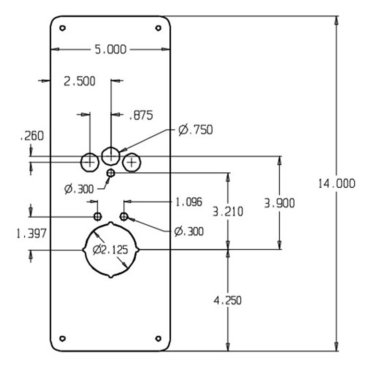 RP-18-630 Don Jo Remodeler Plate Dimensional View