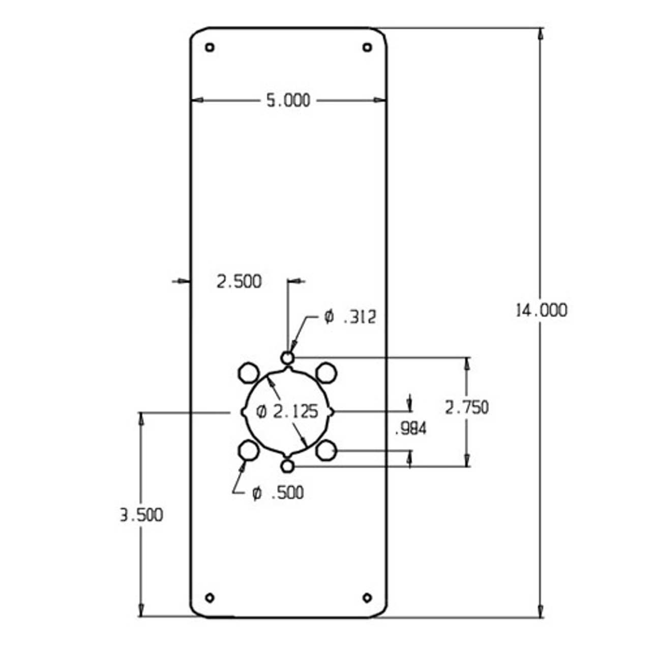 RP-14-2-630 Don Jo Remodeler Plate Dimensional View