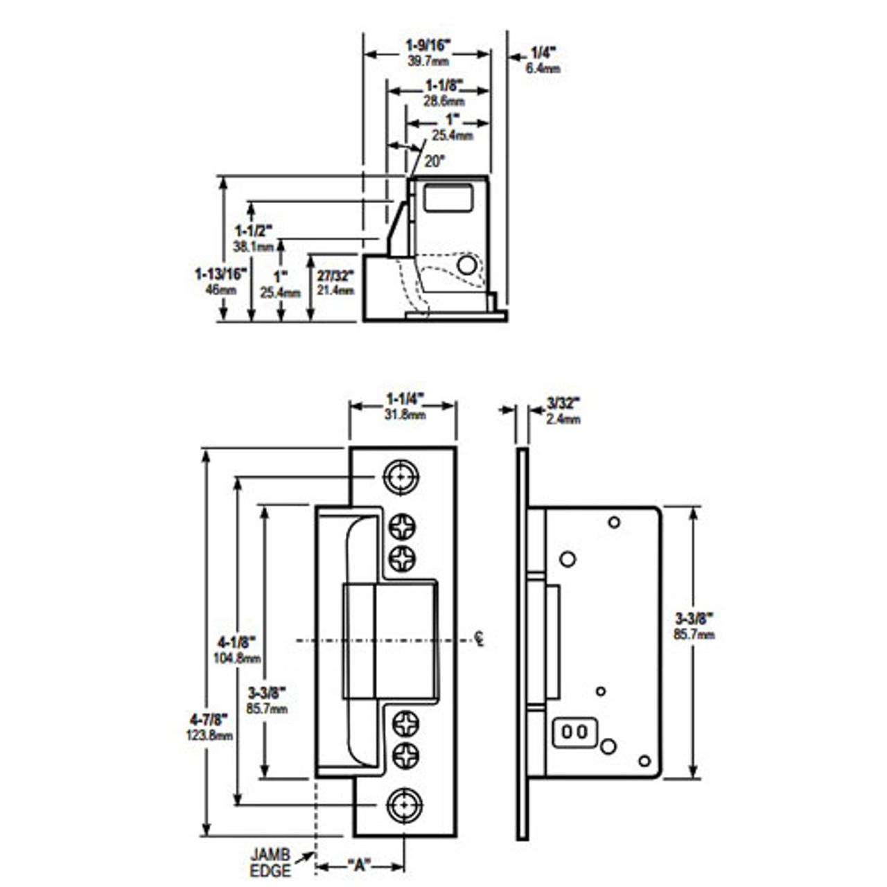 7170-319-628 Adams Rite Electric Strike Dimensional View