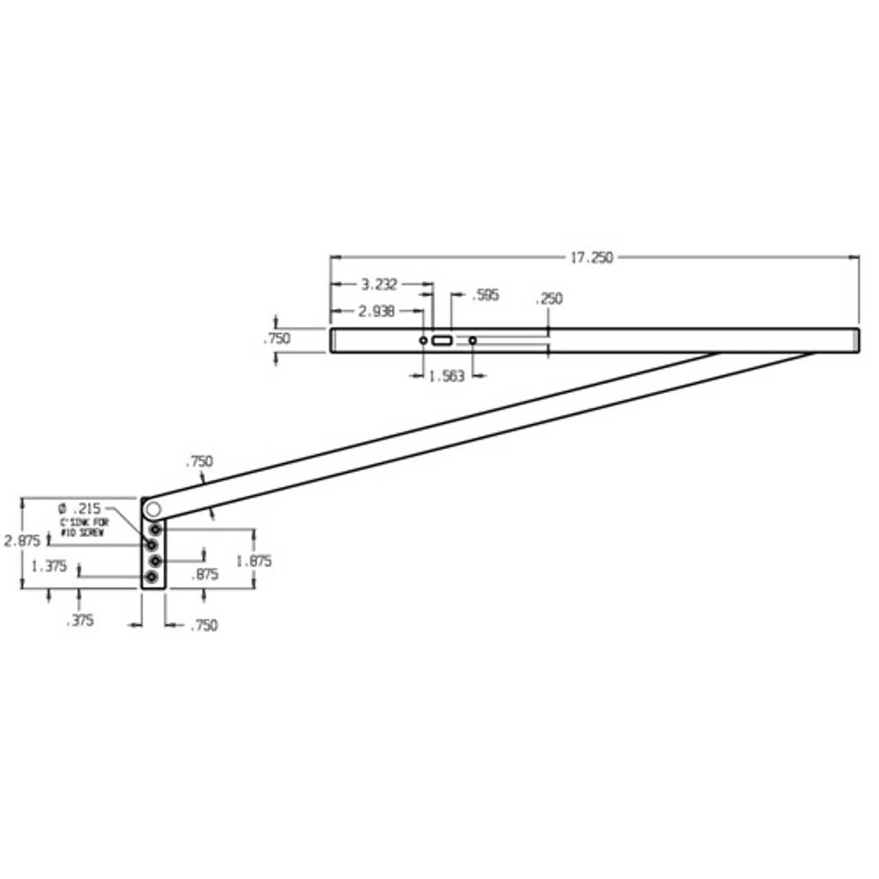 3123-630 Don Jo Surface Stop Dimensional View