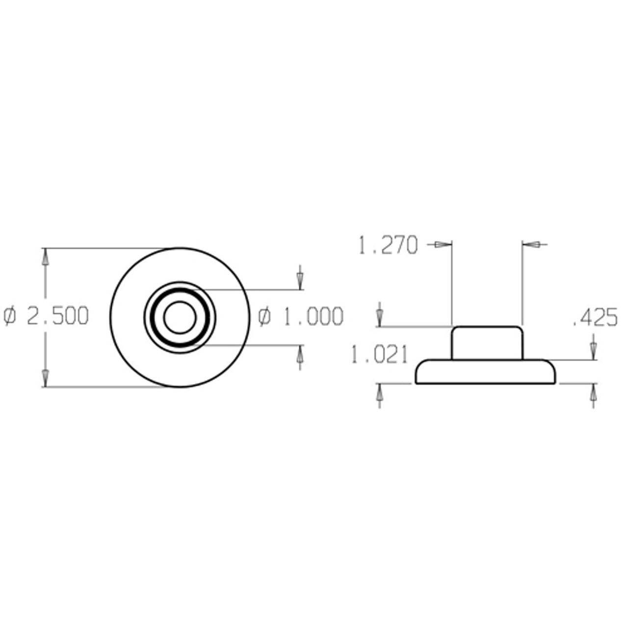 1407-612 Don Jo Wrought Wall Bumper Dimensional View