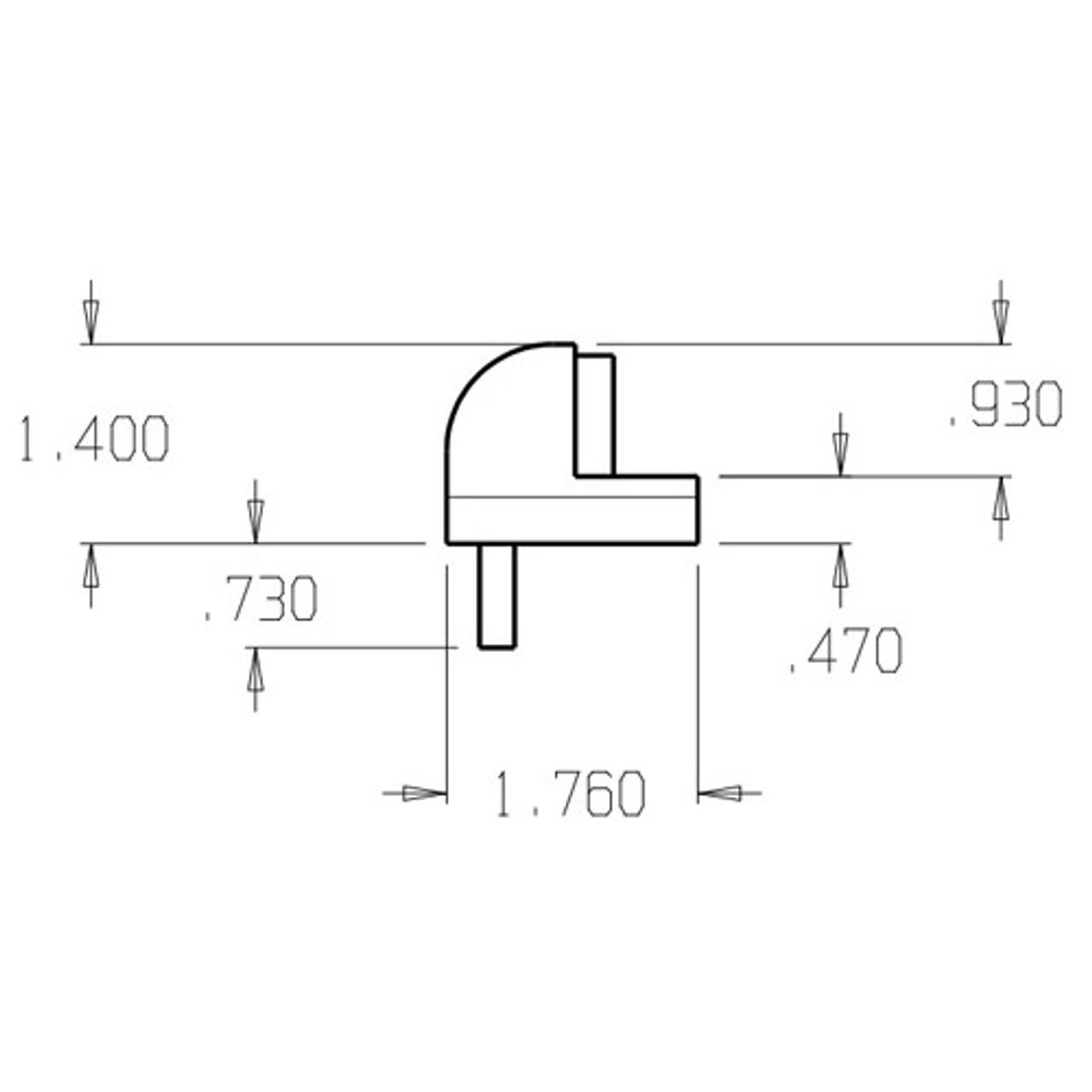 1445-626 Don Jo Floor Stop Dimensional View