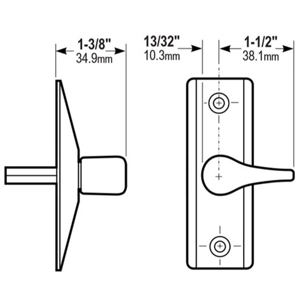 4565-012-119 Adams Rite Deadlatch Handle Dimensional View
