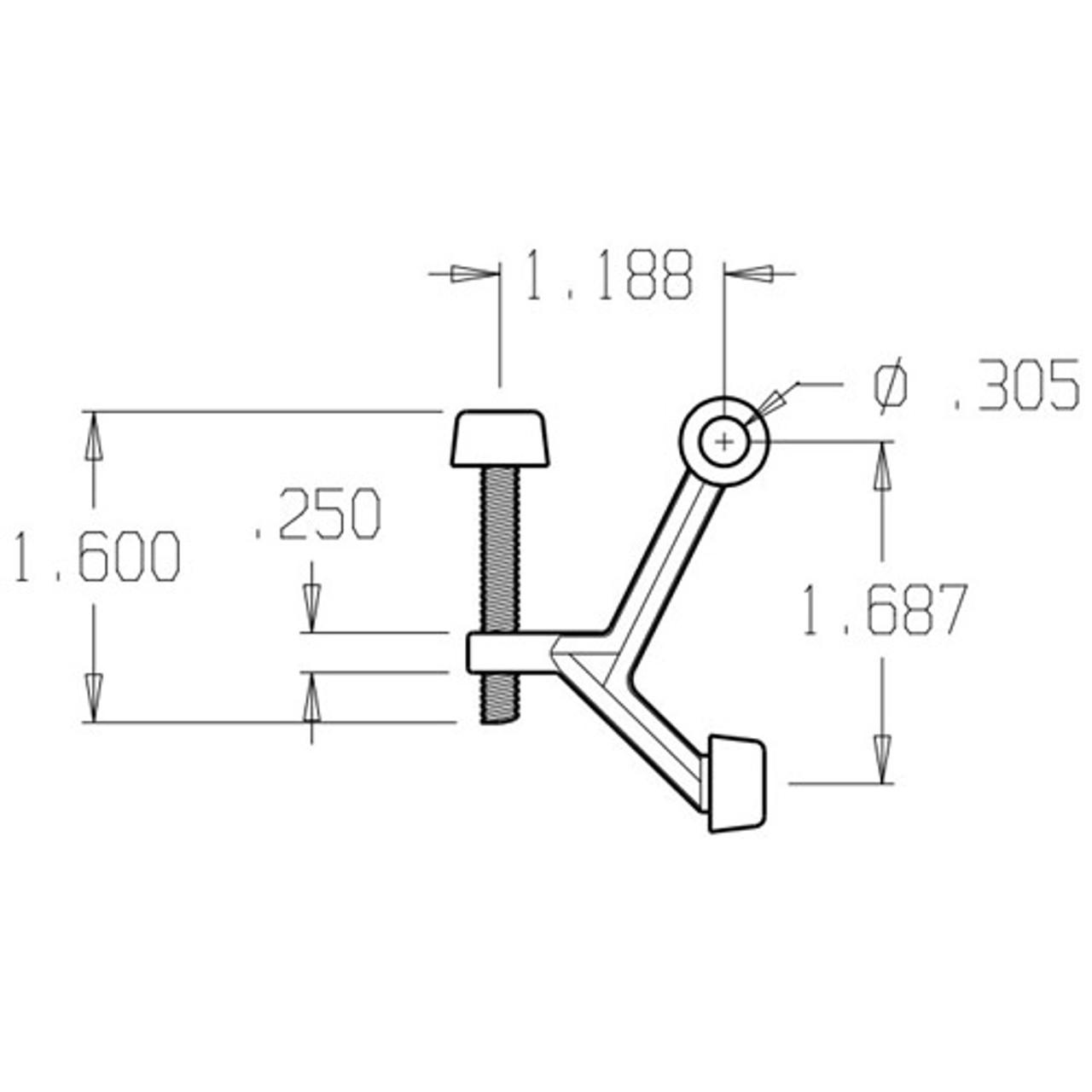 1500-605 Don Jo Hinge Stop Dimensional View