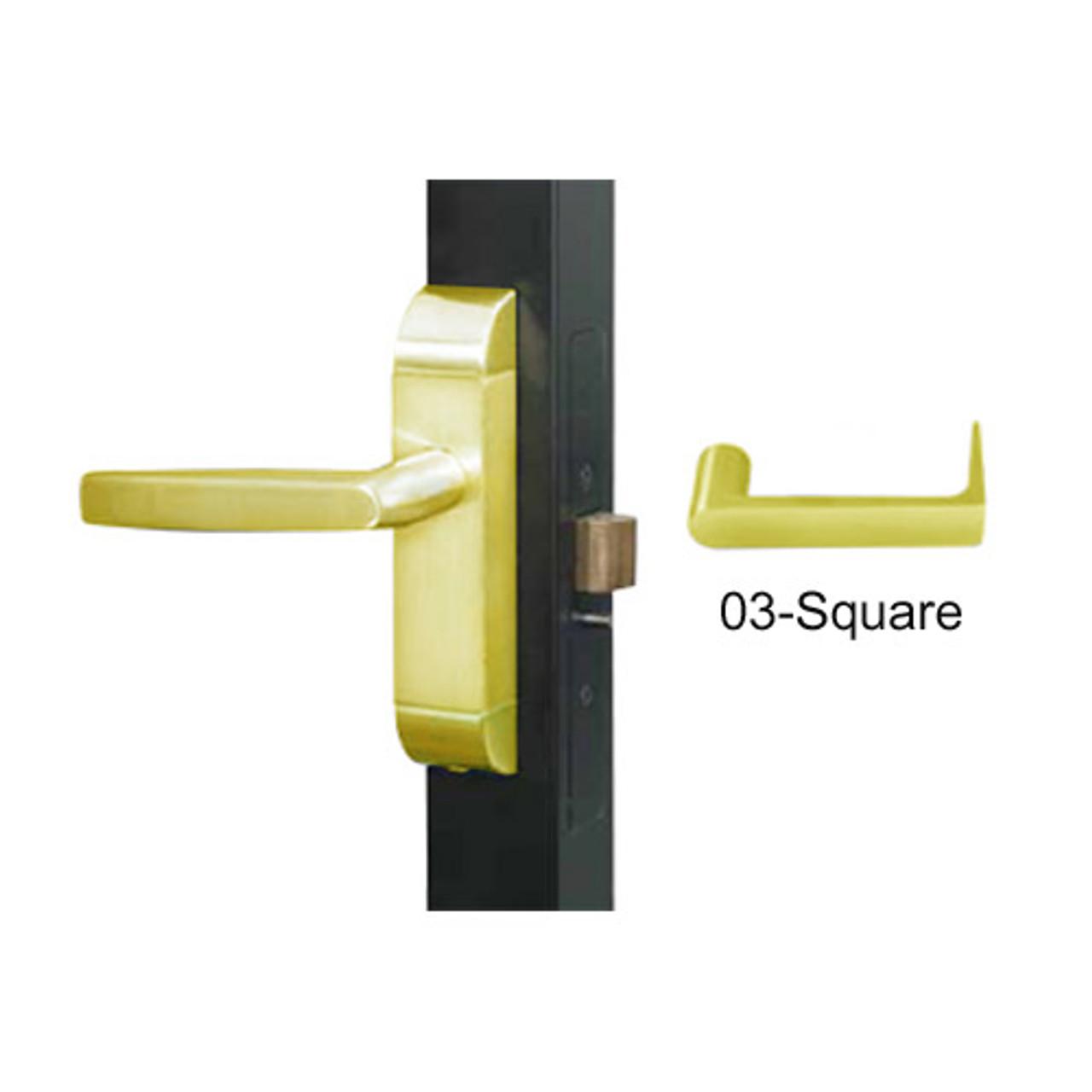 4600-03-542-US3 Adams Rite Heavy Duty Square Deadlatch Handles in Bright Brass Finish