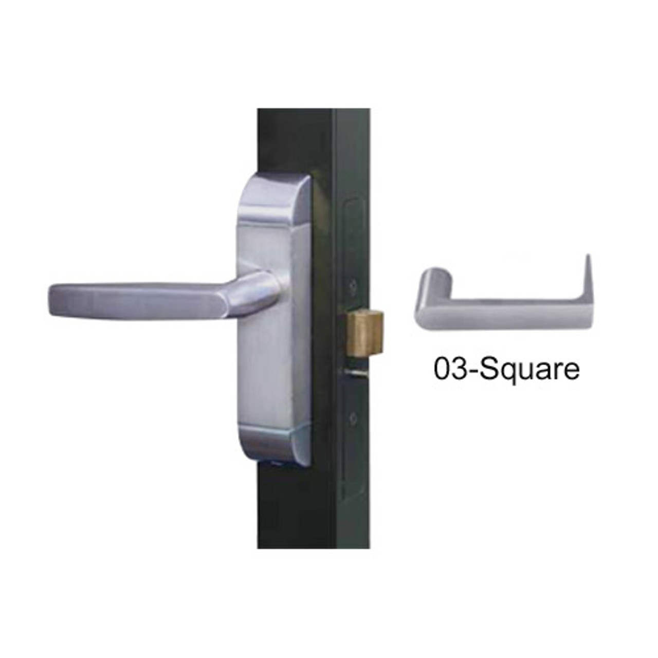 4600-03-642-US32D Adams Rite Heavy Duty Square Deadlatch Handles in Satin Stainless Finish