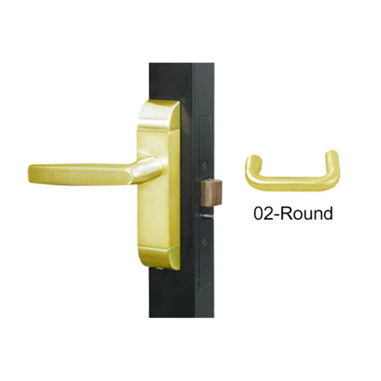 4600-02-511-US3 Adams Rite Heavy Duty Round Deadlatch Handles in Bright Brass Finish