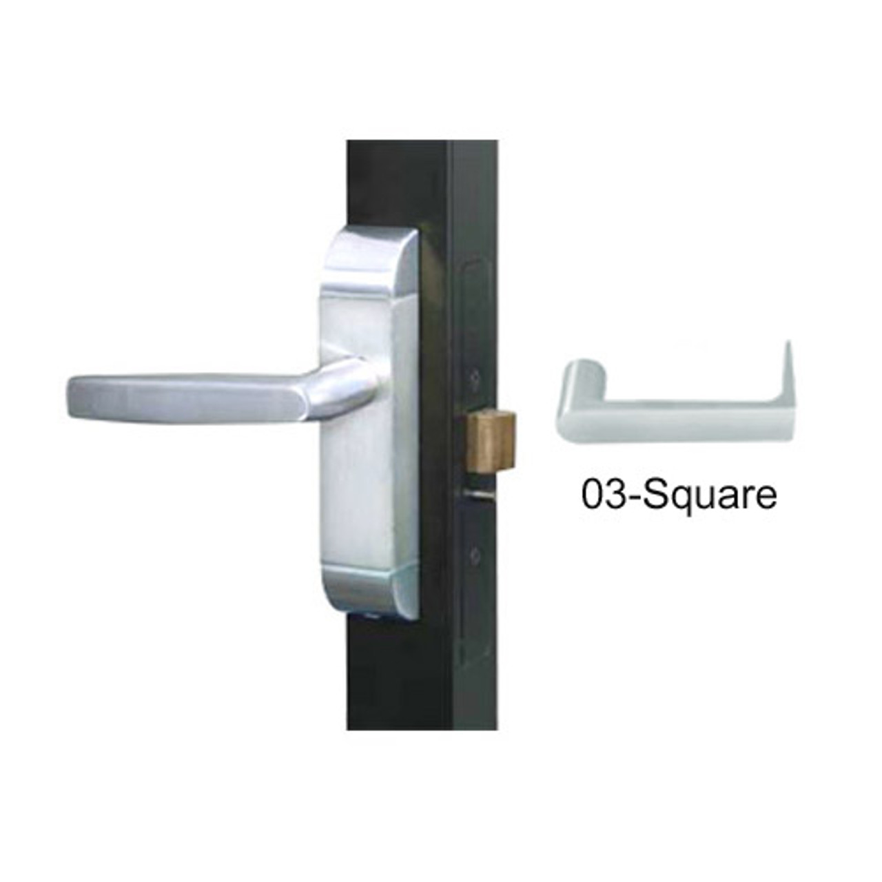 4600-03-531-US32 Adams Rite Heavy Duty Square Deadlatch Handles in Bright Stainless Finish