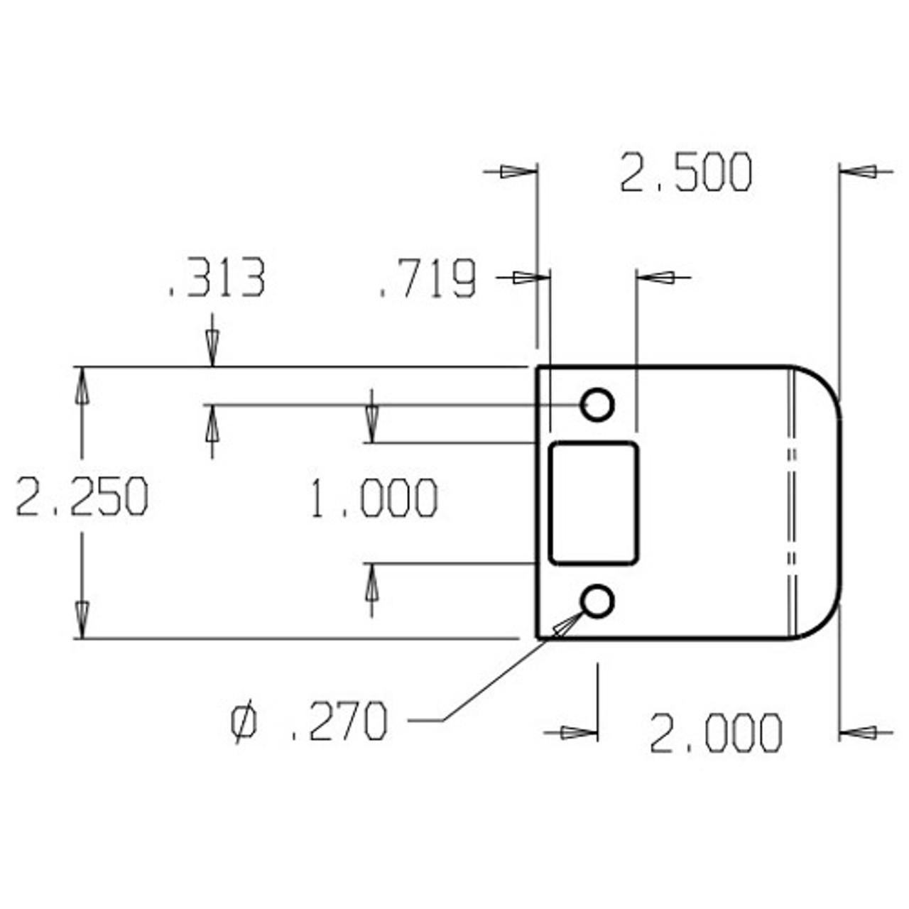 "9102-DU Don Jo 2-1/4"" Extended Lip Strike Dimensional View"