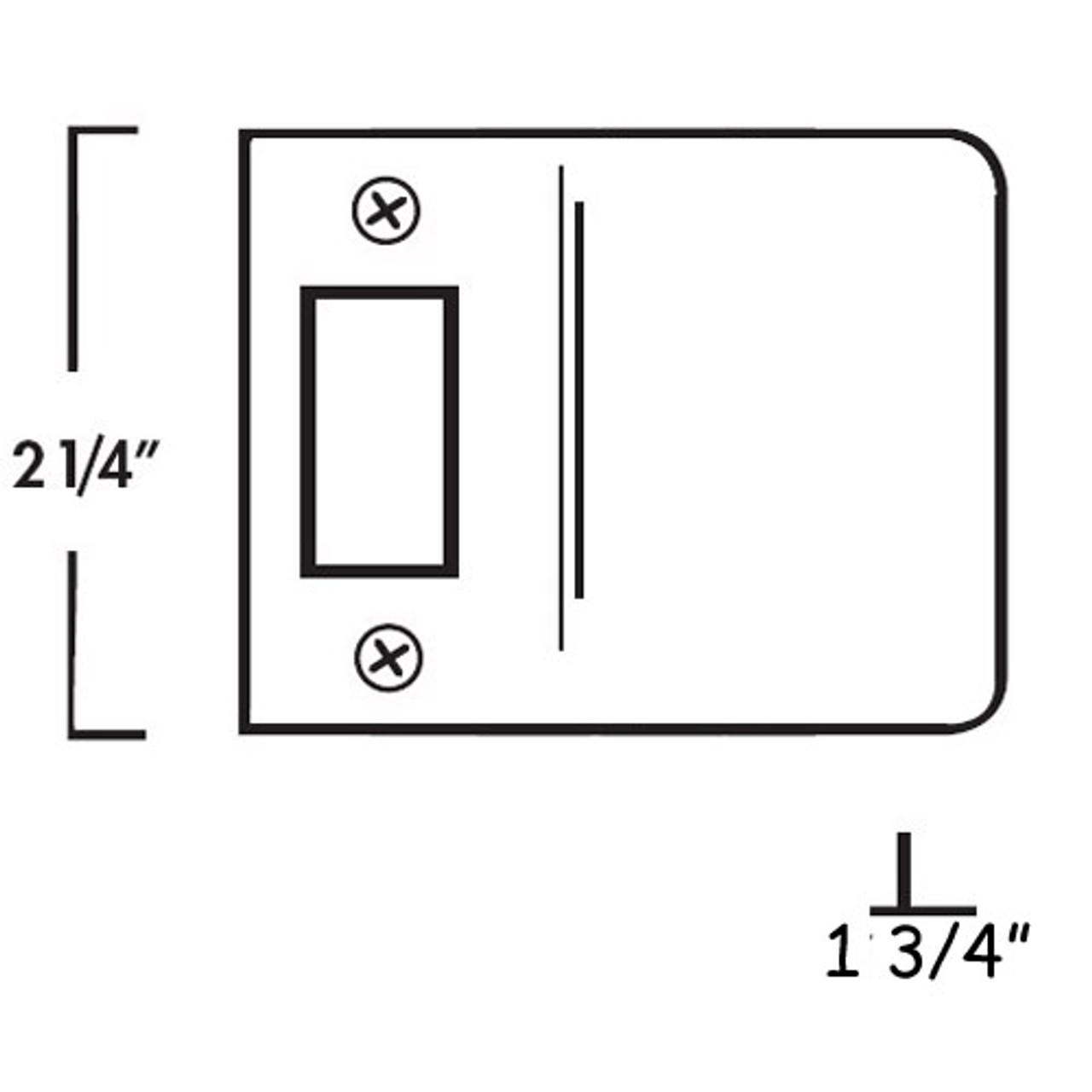 """9175-630-RC Don Jo 2-1/4"""" Extended Lip Strike"""
