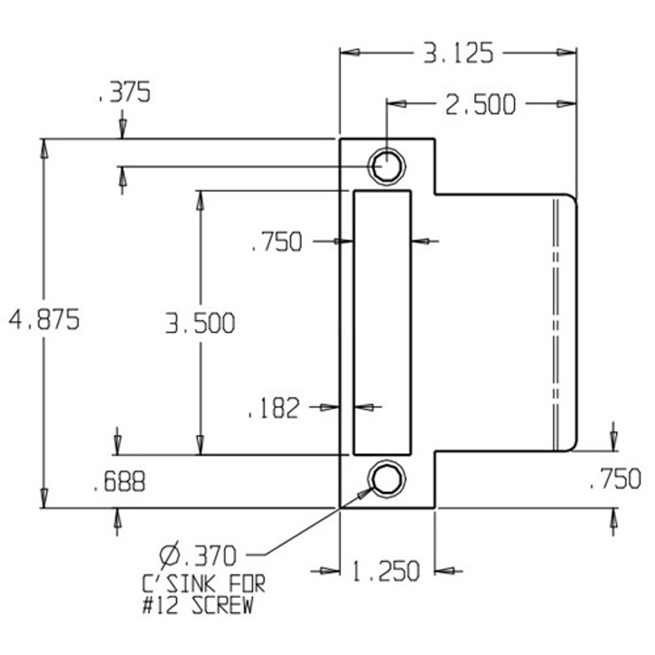 "2.25/"" x 3/"" Duron Brown Don-Jo EL-125-DU Extended 2.5/"" Lip Door Strike"
