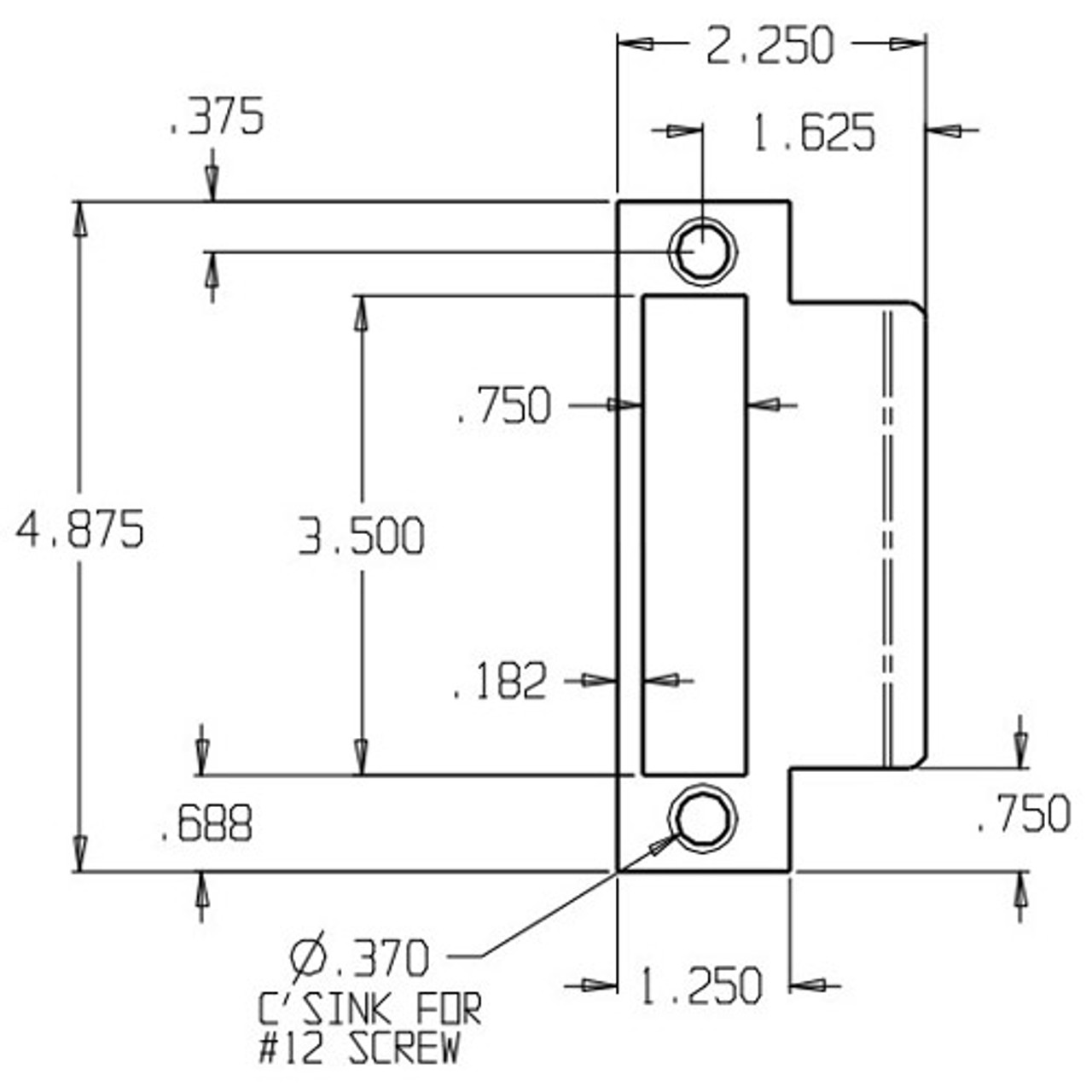 MEST-158-630 Don Jo Mortise Type Extended Lip ANSI Strike Dimensional View