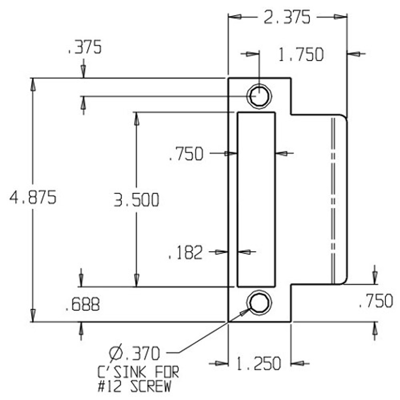 MEST-175-630 Don Jo Mortise Type Extended Lip ANSI Strike Dimensional View