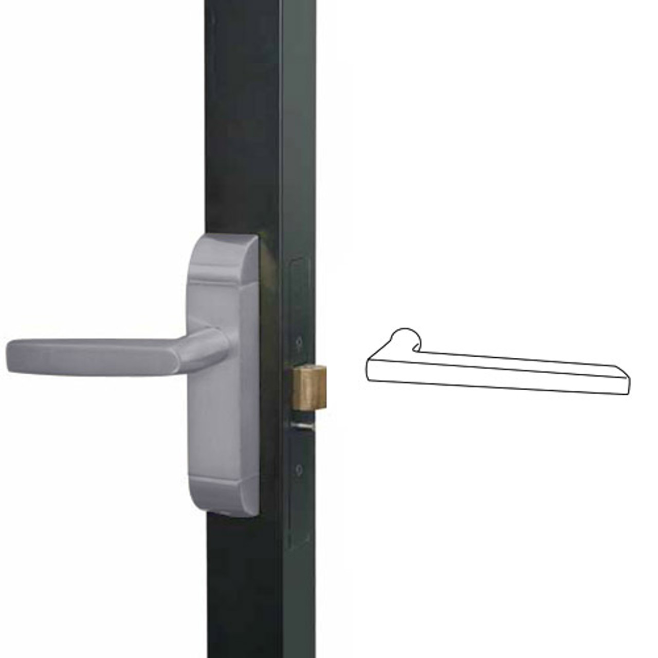 4600M-MD-551-US32D Adams Rite MD Designer Deadlatch handle in Satin Stainless Finish
