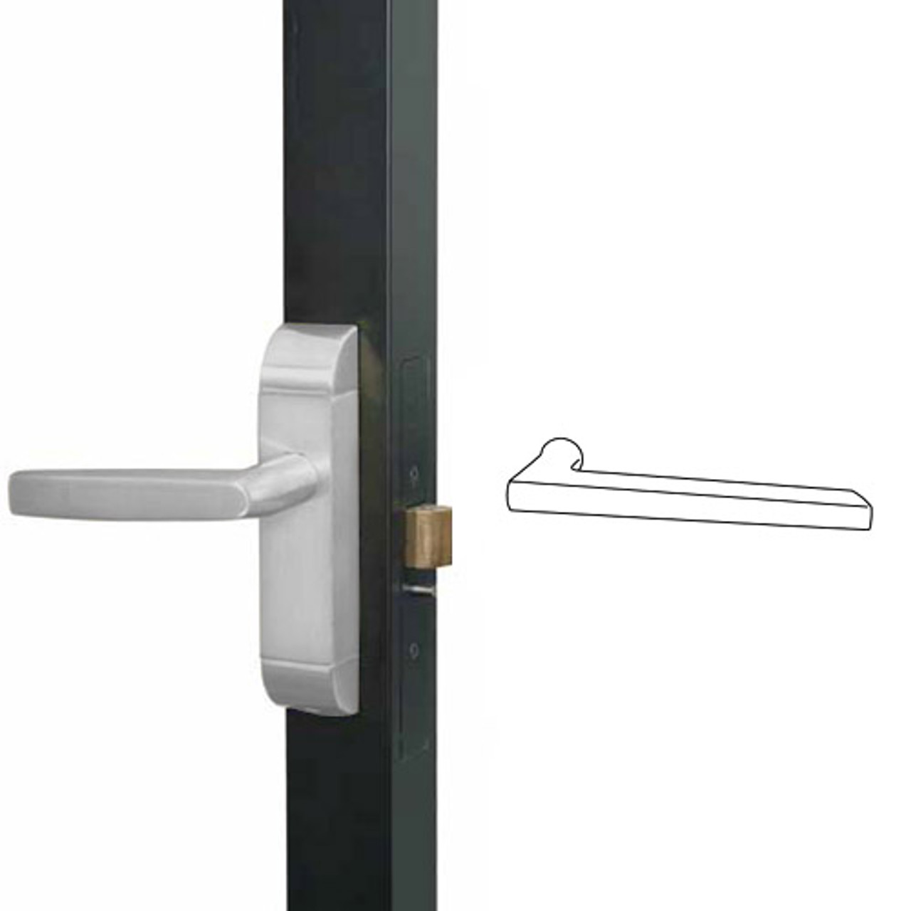 4600M-MD-651-US32 Adams Rite MD Designer Deadlatch handle in Bright Stainless Finish