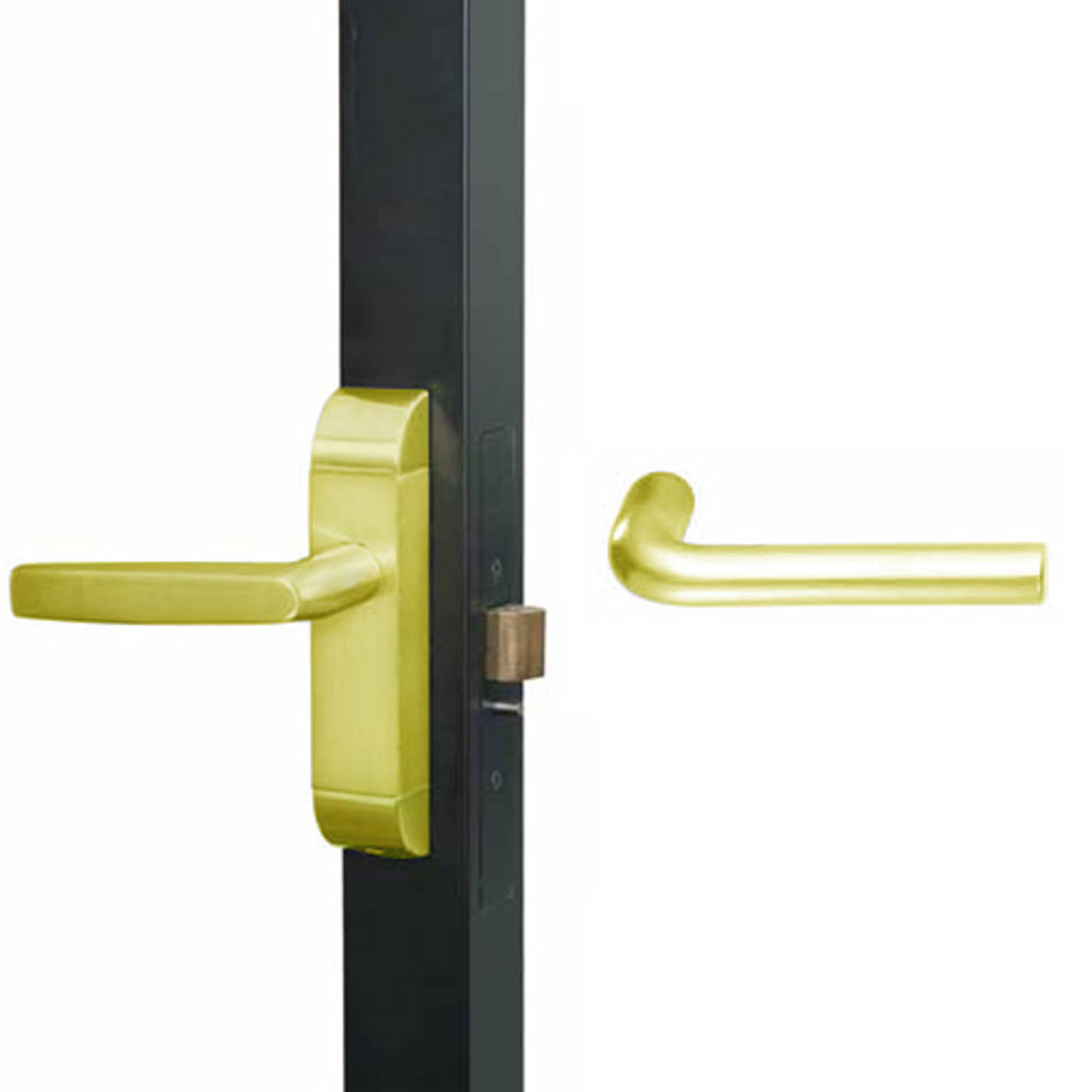 4600M-ME-621-US3 Adams Rite ME Designer Deadlatch handle in Bright Brass Finish