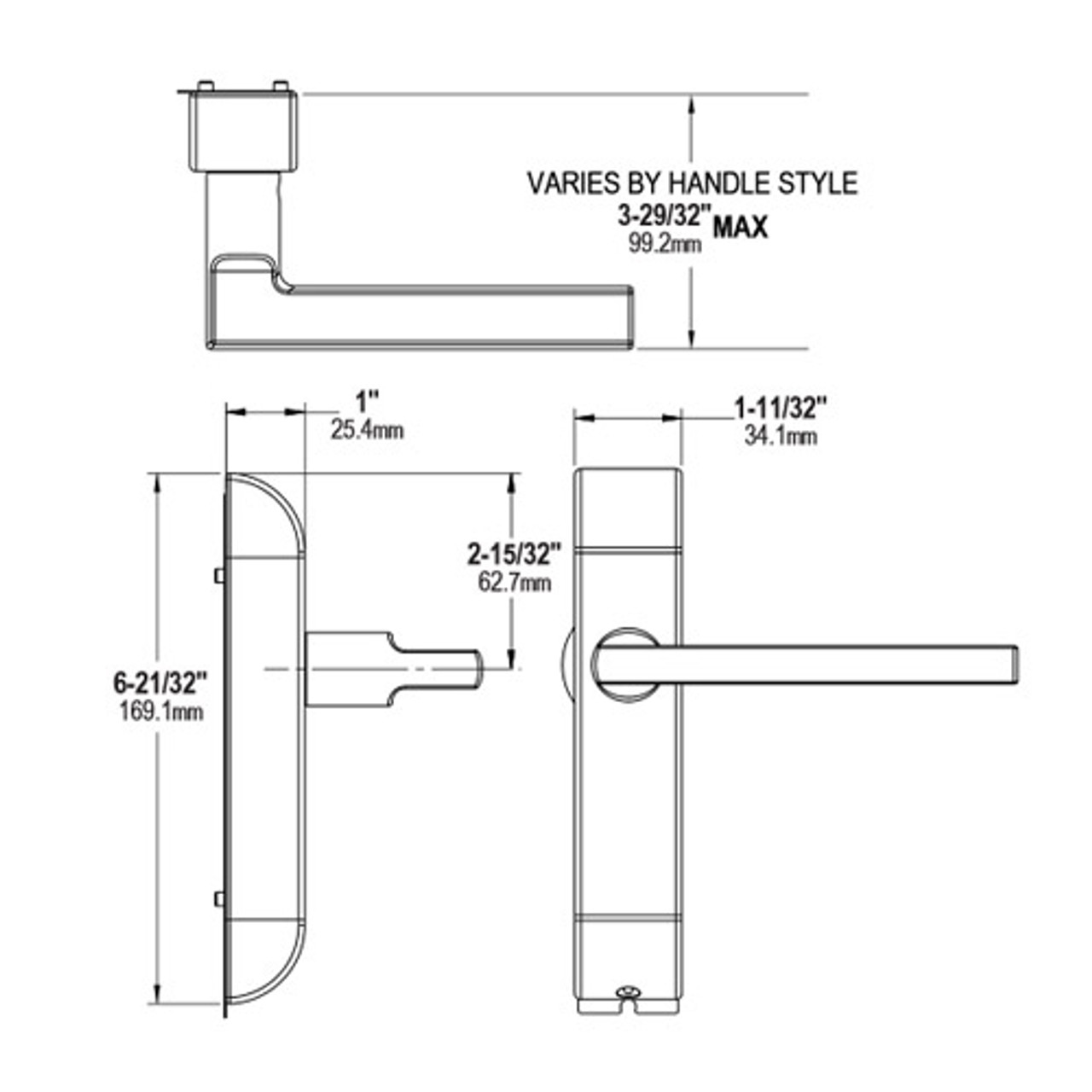 4600M-MI-622-US32 Adams Rite MI Designer handle Dimensional View