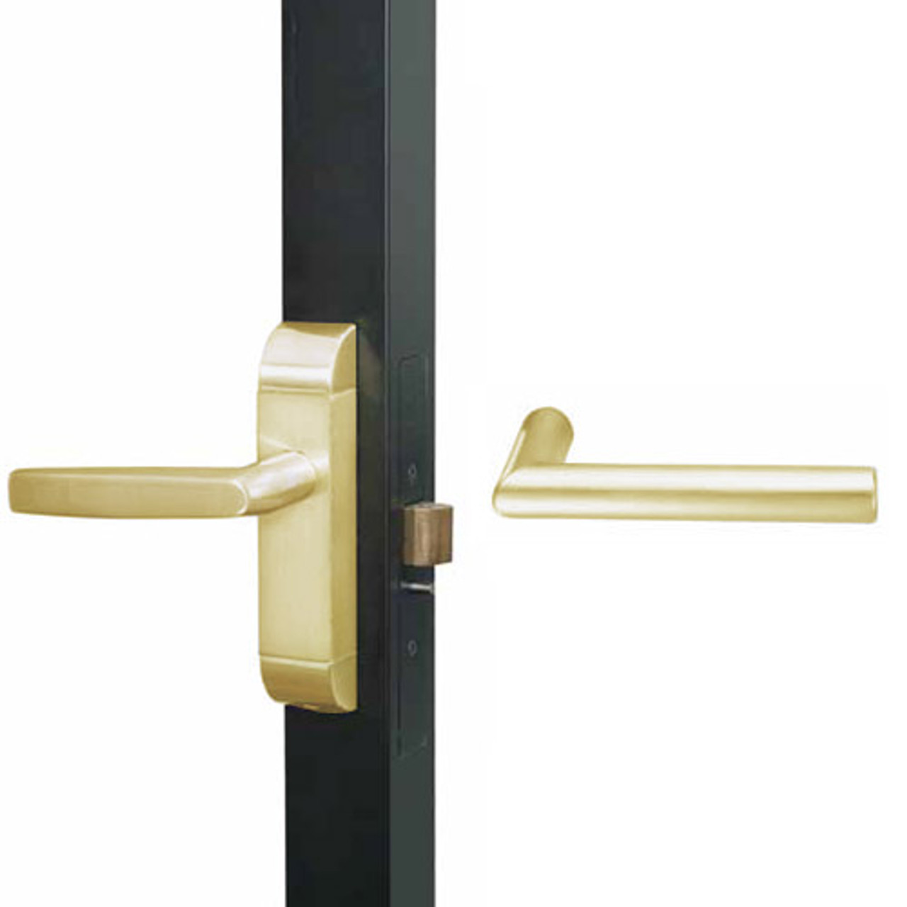 4600M-MI-652-US4 Adams Rite MI Designer Deadlatch handle in Satin Brass Finish