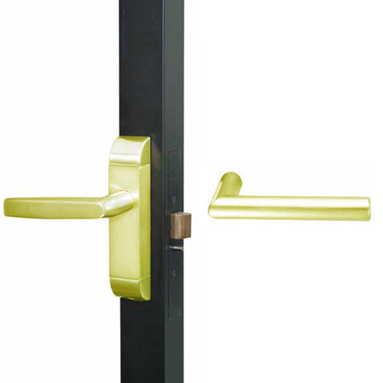 4600M-MI-611-US3 Adams Rite MI Designer Deadlatch handle in Bright Brass Finish