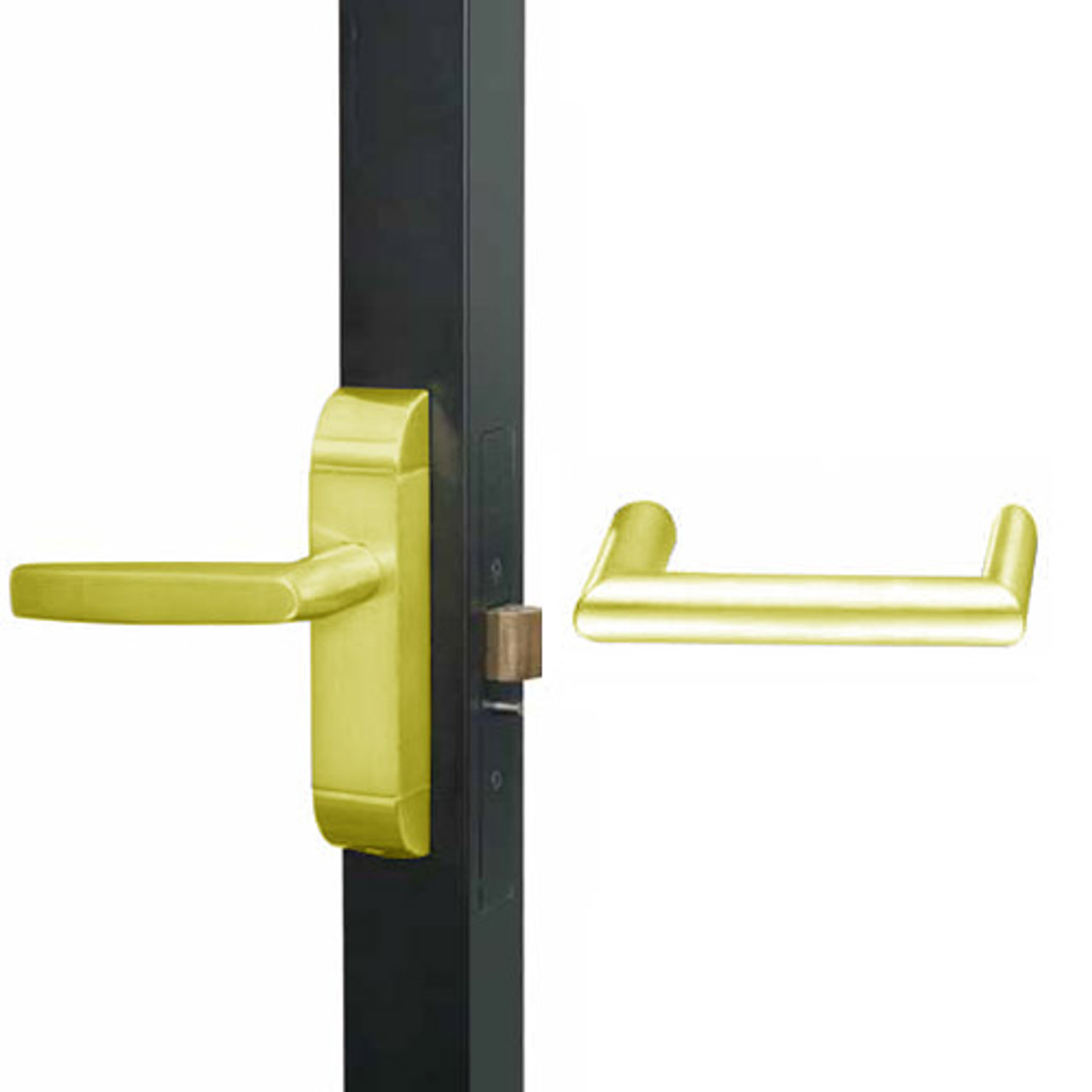 4600M-MW-521-US3 Adams Rite MW Designer Deadlatch handle in Bright Brass Finish