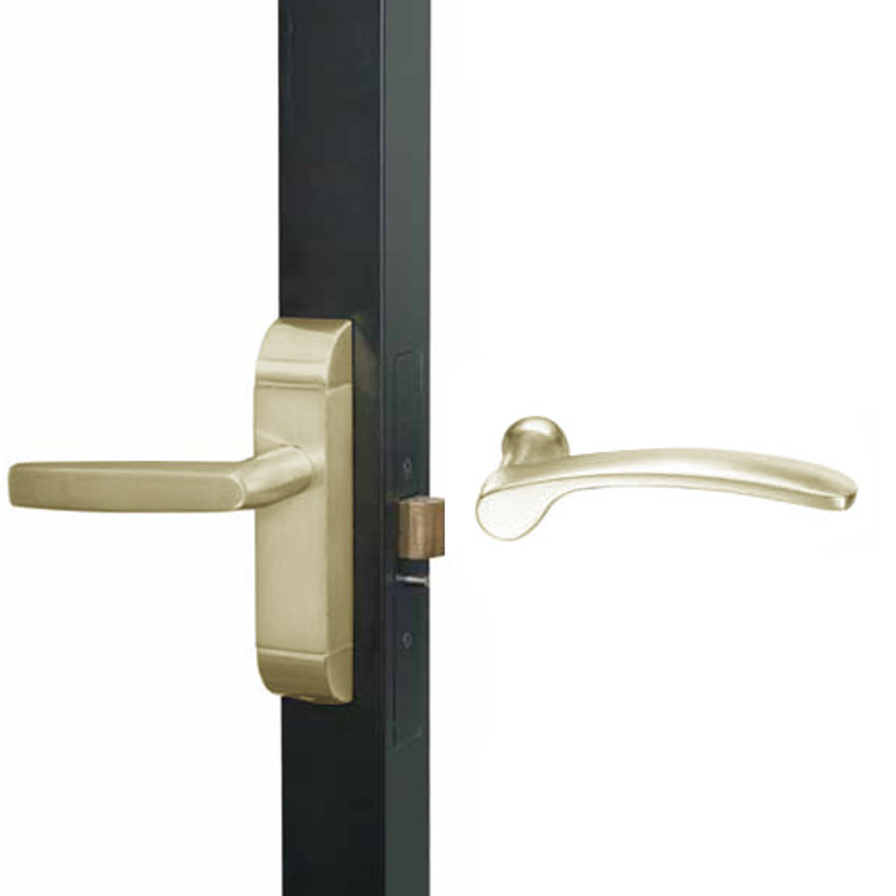 4600M-MN-531-US4 Adams Rite MN Designer Deadlatch handle in Satin Brass Finish