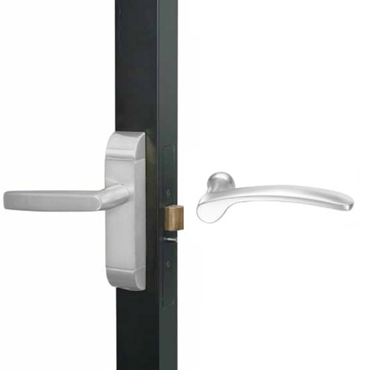 4600M-MN-611-US32 Adams Rite MN Designer Deadlatch handle in Bright Stainless Finish