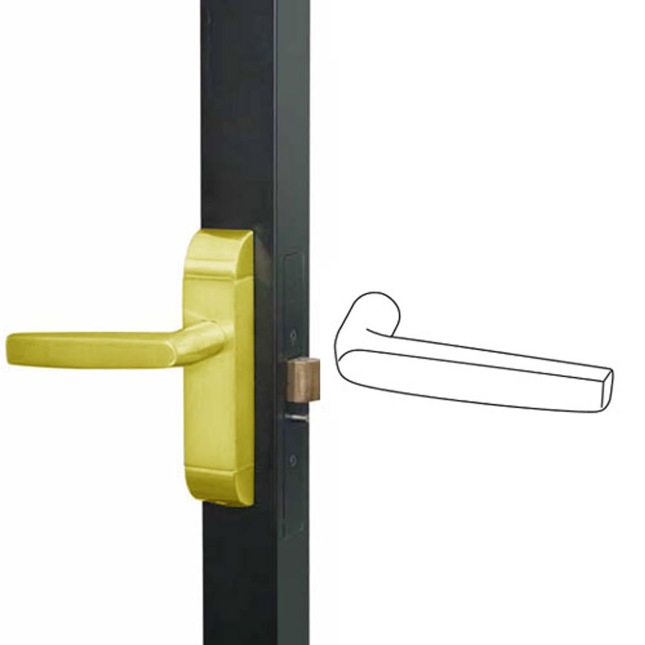 4600-MJ-612-US3 Adams Rite MJ Designer Deadlatch handle in Bright Brass Finish