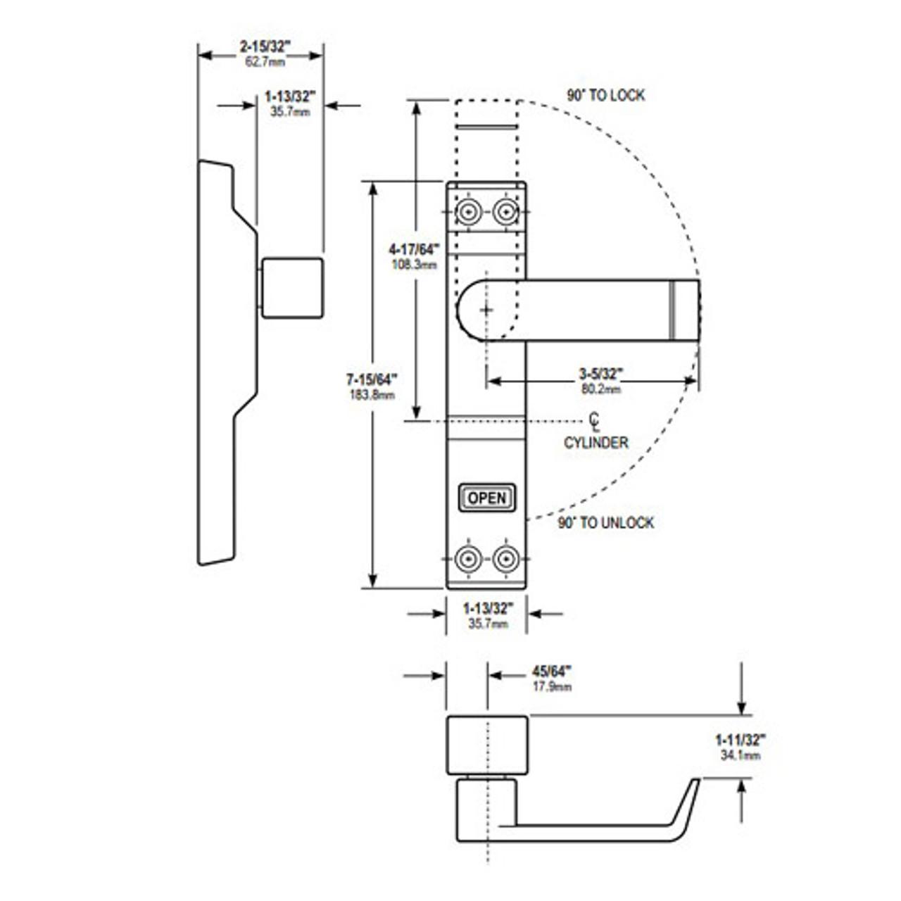 4550R-02-130 Adams Rite MS Deadlock Lever Dimensional View