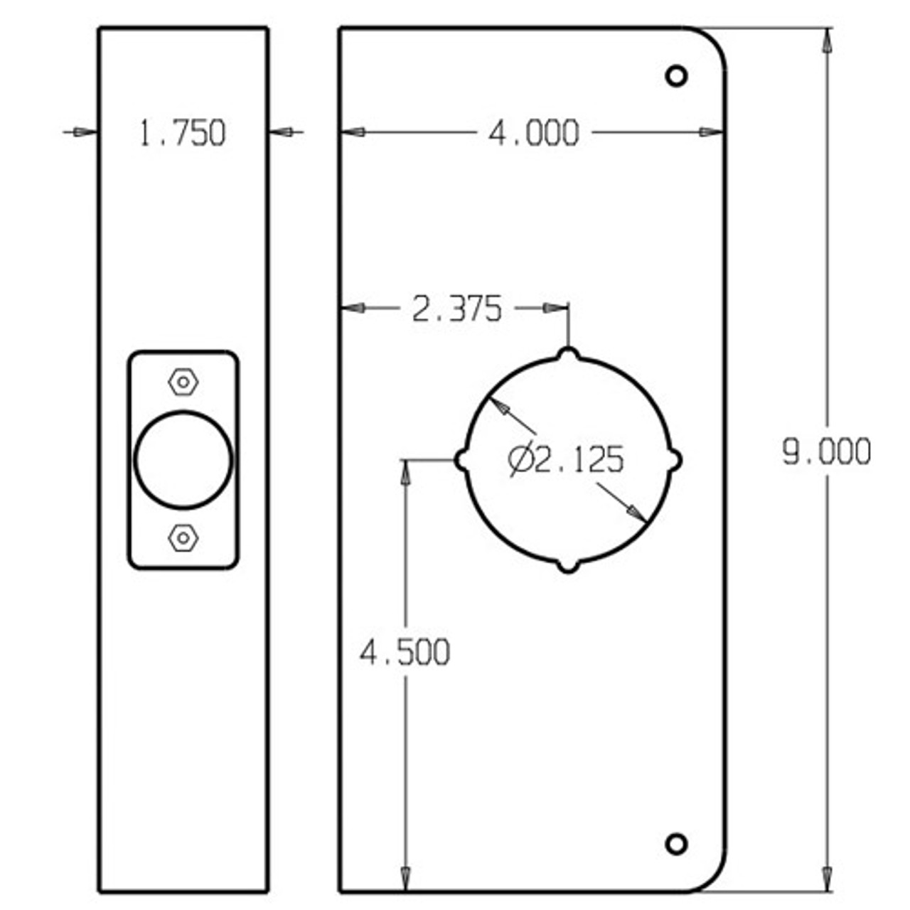 2-AB-CW Don Jo Classic Wrap Around Plate Dimensional View