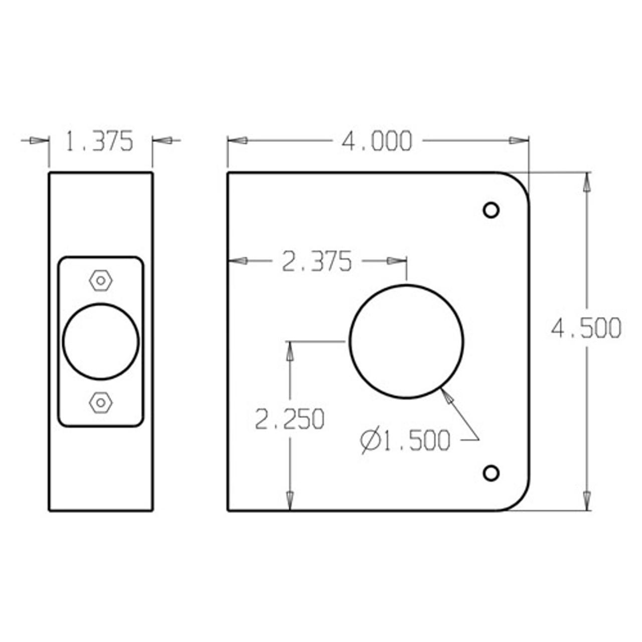 5-PB-CW Don Jo Classic Wrap Around Plate Dimensional View