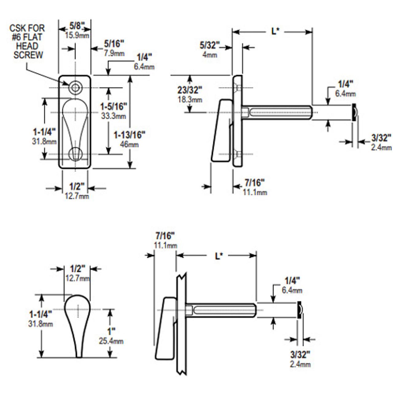 1000-21-31-121 Adams Rite 1000 Series Turns Dimensional View