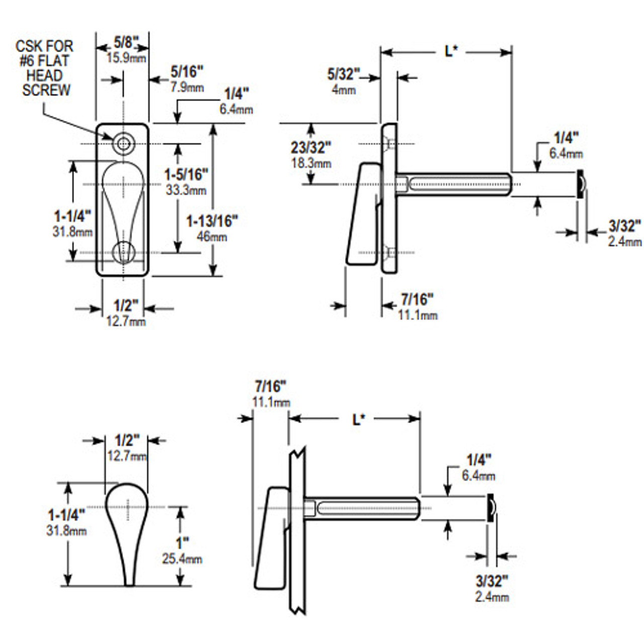 1004-130 Adams Rite 1004 Series Turns Dimensional View