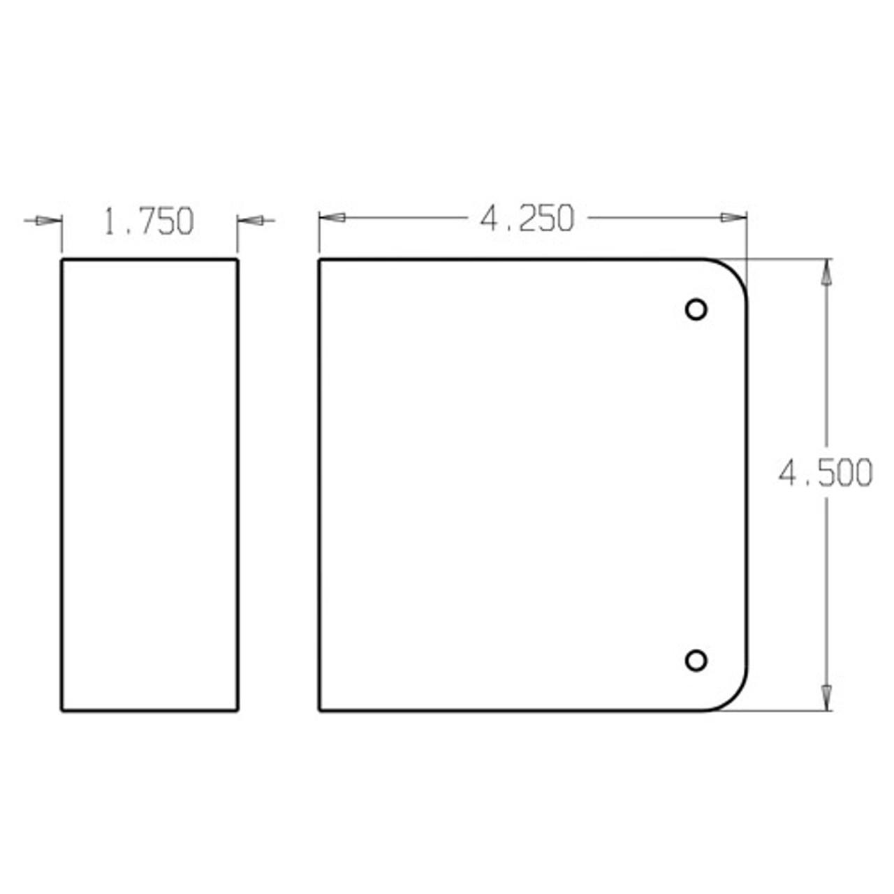 80-10B-CW Don Jo Blank Wrap-Around Plate with Trim Screws Dimensional View