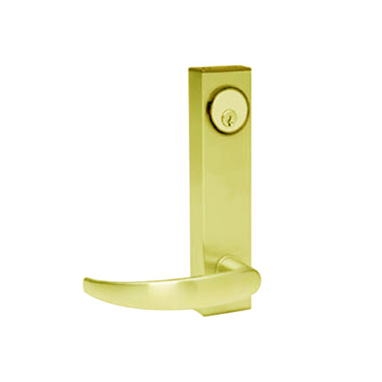 3080-01-0-34-US3 Adams Rite Standard Entry Trim with Curve Lever in Bright Brass Finish