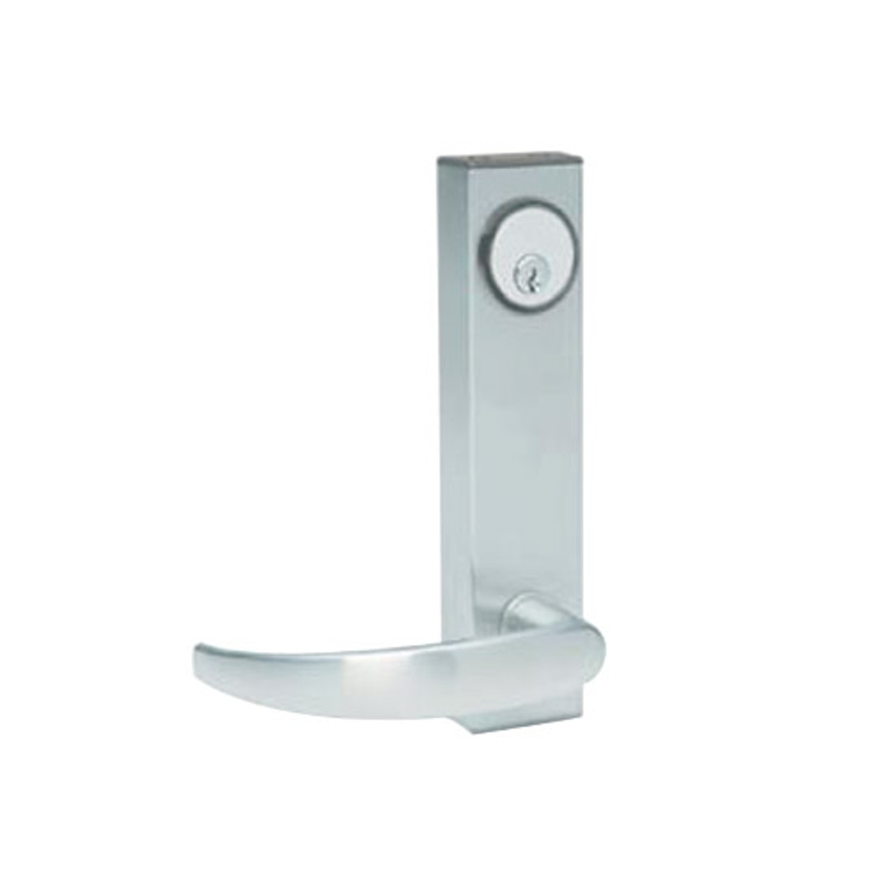 3080-01-0-34-US32 Adams Rite Standard Entry Trim with Curve Lever in Bright Stainless Finish