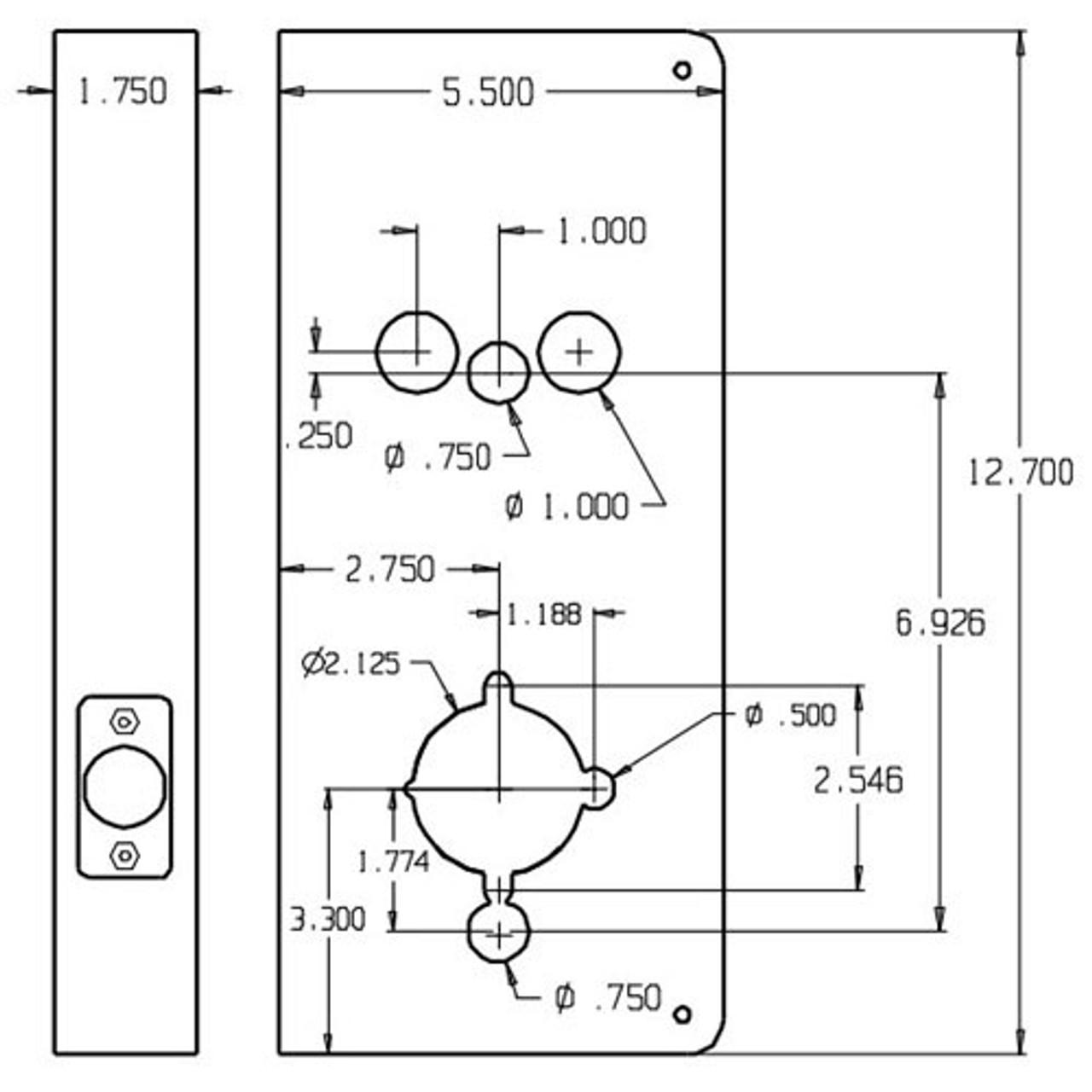 93-KV-10B-CW Don Jo Wrap-Around Plate for Best 93-KV Locks and Mas-Hamilton Power Levers Dimensional View