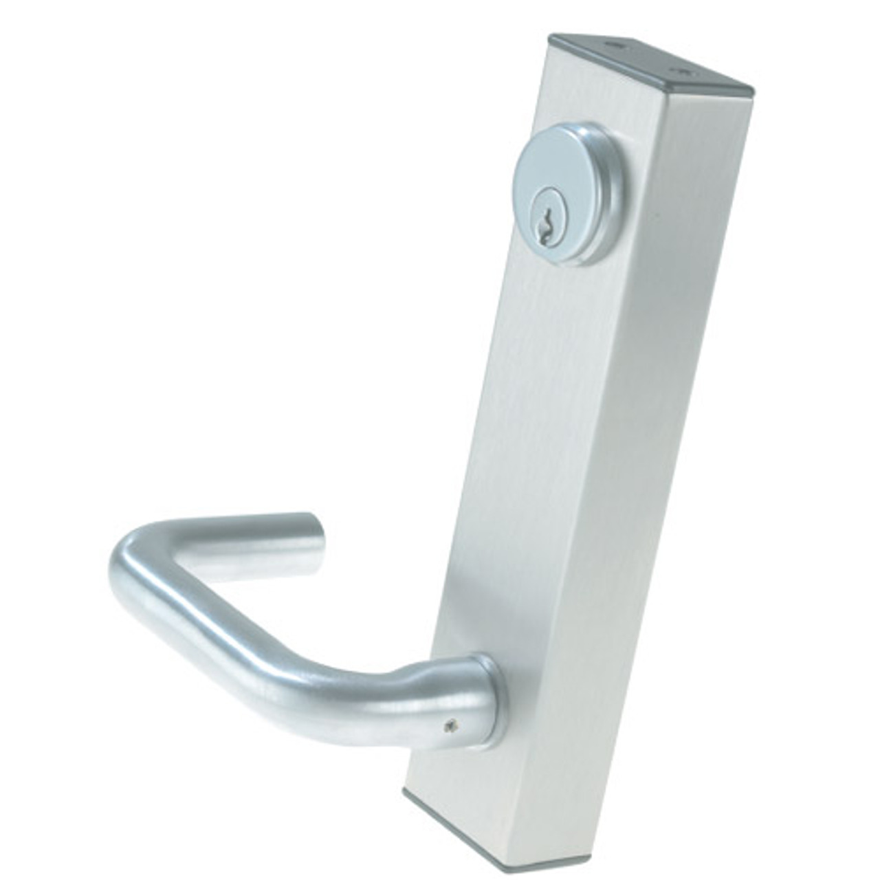 3080E-02-0-36-35 US32 Adams Rite Electrified Entry Trim with Round Lever in Bright Stainless Finish