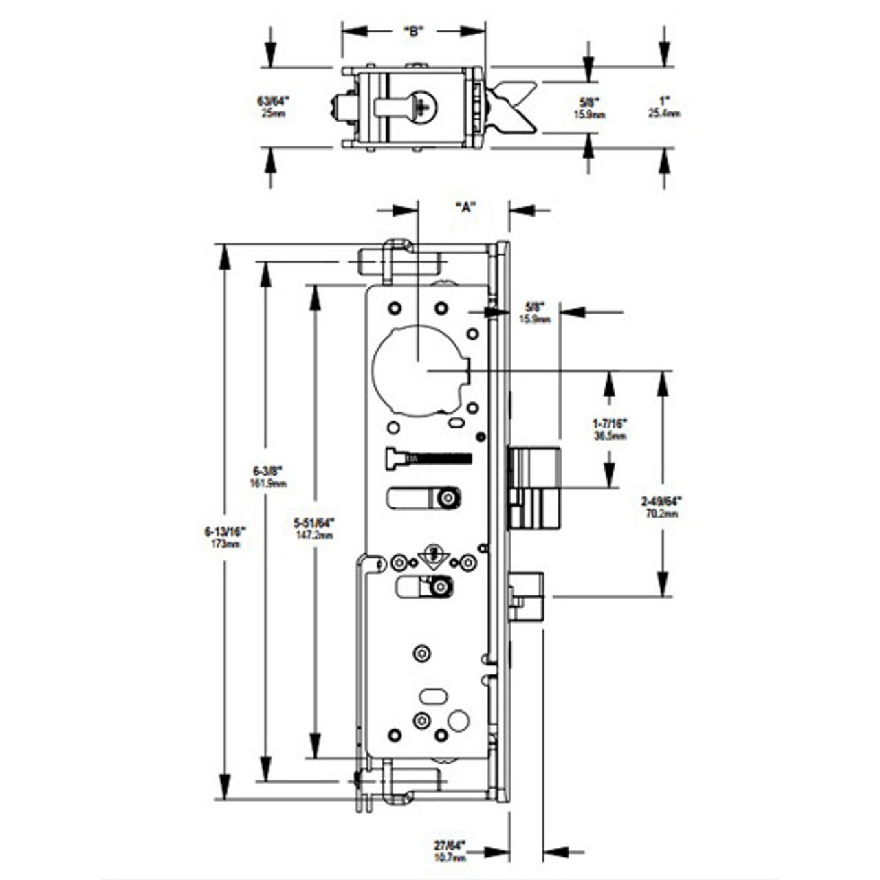 4300-40-121-313 Adams Rite Electrified Deadlatch Dimensional View