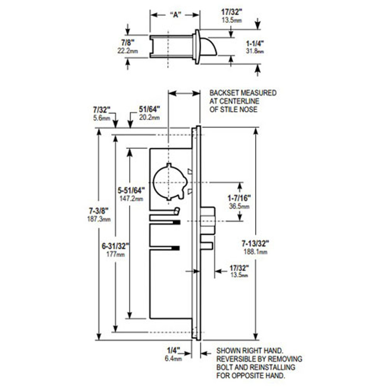 4531-16-221-335 Adams Rite Standard Deadlatch Dimensional View