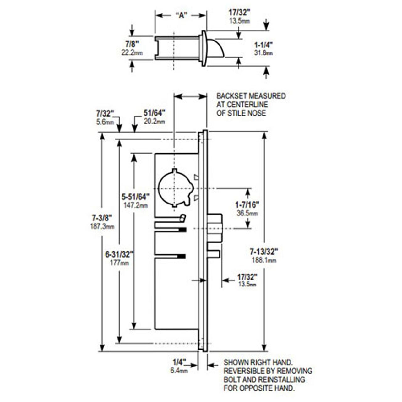 4531-26-101-628 Adams Rite Standard Deadlatch Dimensional View