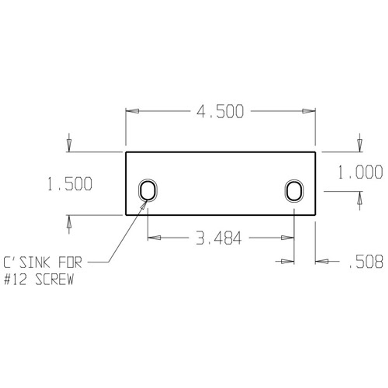 SHF-45-BP Don Jo Filler Plate Dimensional View