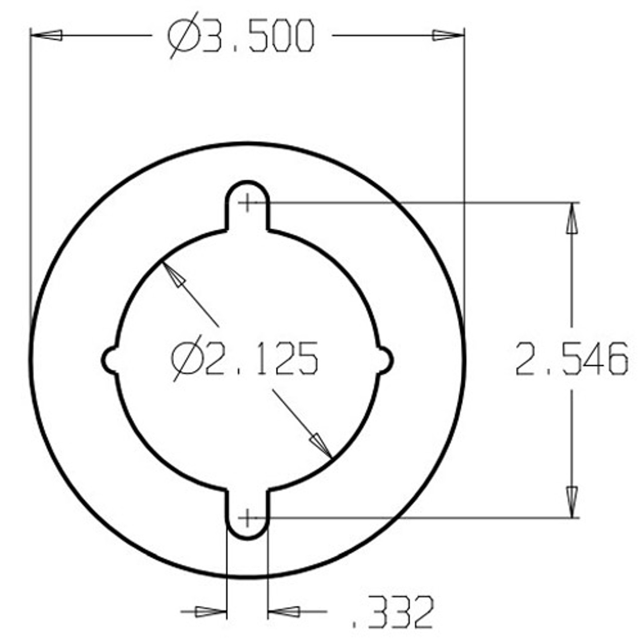 AR-9K-605 Don Jo Hole Filler Plate Dimensional View