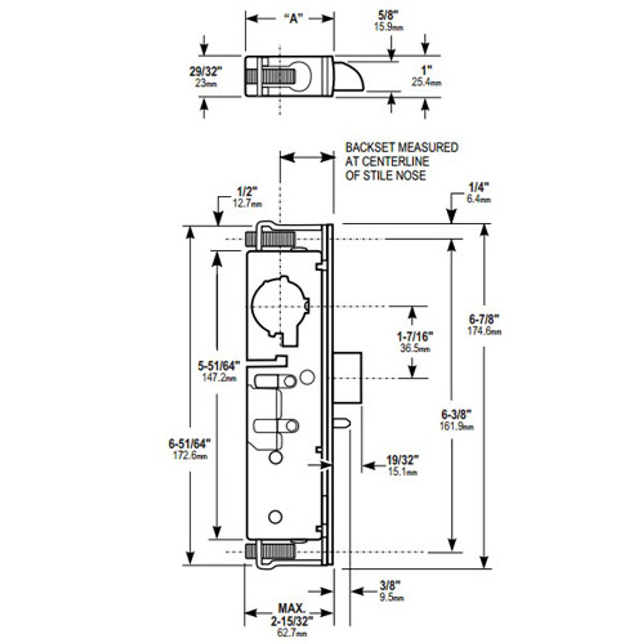 4911W-35-101-335 Adams Rite Heavy Duty Deadlatch Dimensional View