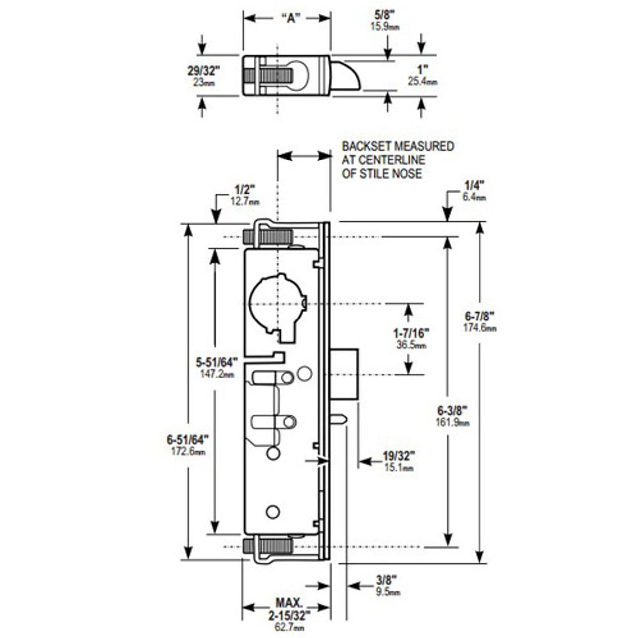 4911W-45-221-335 Adams Rite Heavy Duty Deadlatch Dimensional View