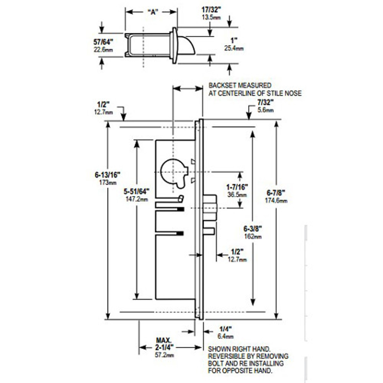 4512-36-101-628 Adams Rite Standard Deadlatch Dimensional View