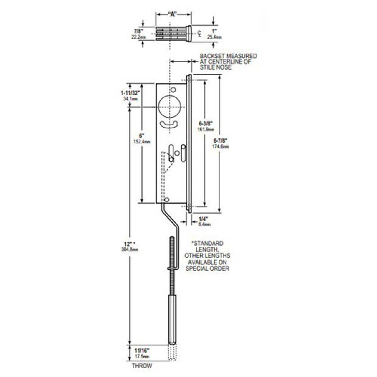 1871-36-335 Adams Rite Flushbolt Dimensional View