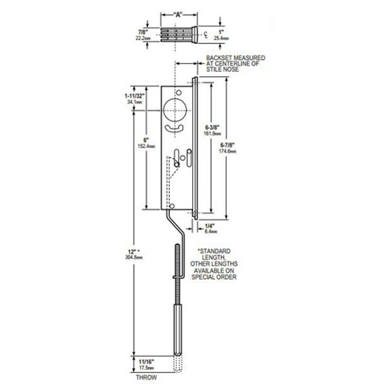 1871-36-628 Adams Rite Flushbolt Dimensional View