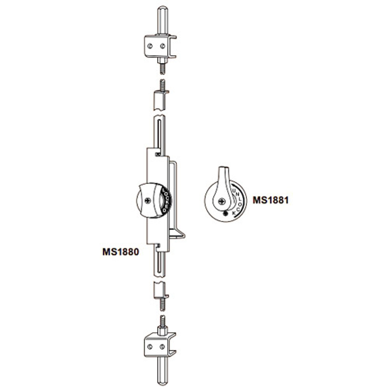 MS1880-03-682 Adams Rite Flushbolt in Satin Chrome Finish