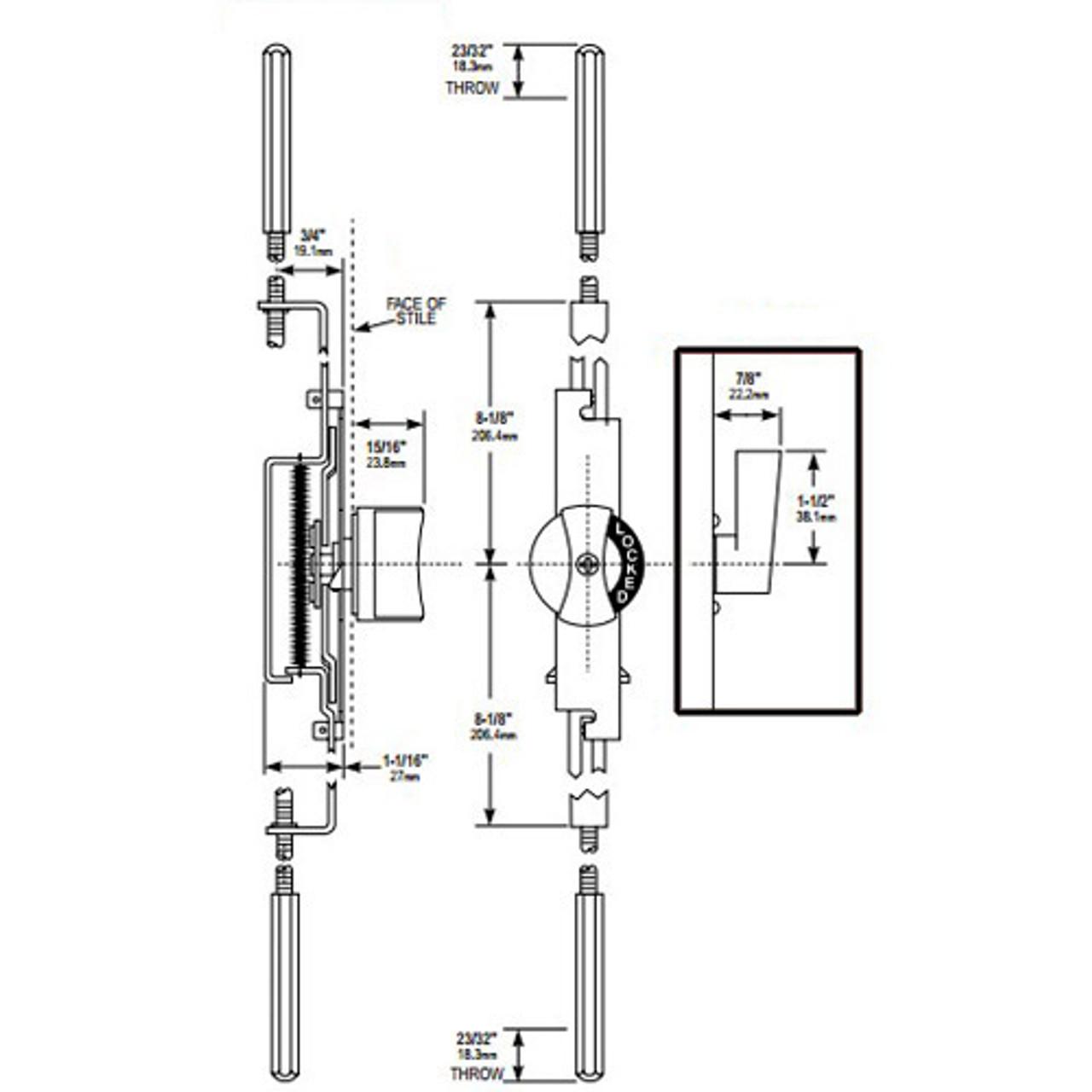 MS1881-04-121 Adams Rite Flushbolt Dimensional View