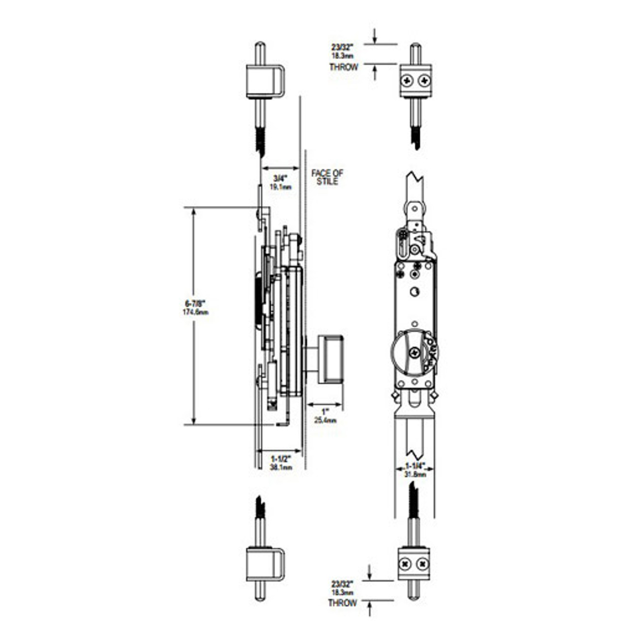 MS2180-07-119 Adams Rite Flushbolt Dimensional View
